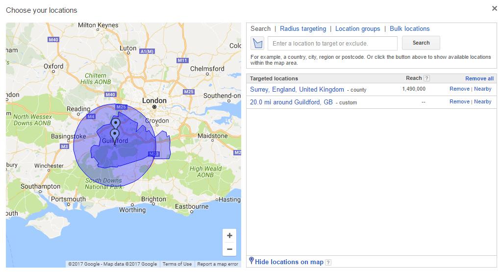 AdWords Geo-targetting